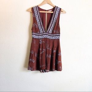Urban Outfitters Ecote Floral Deep V Romper